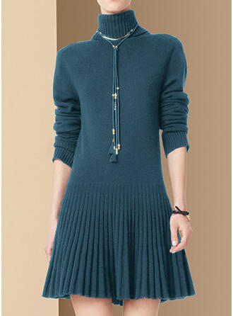 Solid/Chunky knit/Cable-knit Long Sleeves A-line Above Knee Casual/Long Dresses