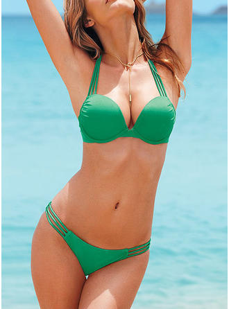 Jednolity kolor Wiązany na szyi Seksowny Bikini Stroje kąpielowe