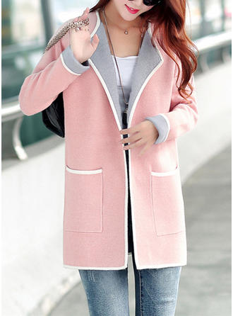 Nylon Long Sleeves Plain Wide-Waisted Coats
