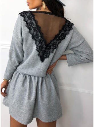 Lace Long Sleeves A-line Above Knee Casual Skater Dresses
