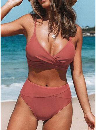 Jednolity kolor Wysoki stan W prążki Dekolt w kształcie litery V Seksowny Wintage Świeży Bikini Stroje kąpielowe