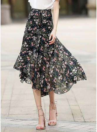 Chiffon Floral Mid-Calf A-Line Skirts