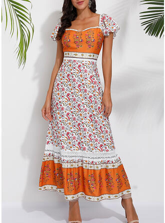 Print/Floral Short Sleeves Shift Casual/Boho/Vacation Maxi Dresses
