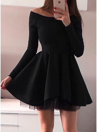 Solid Long Sleeves A-line Above Knee/Asymmetrical Casual Dresses