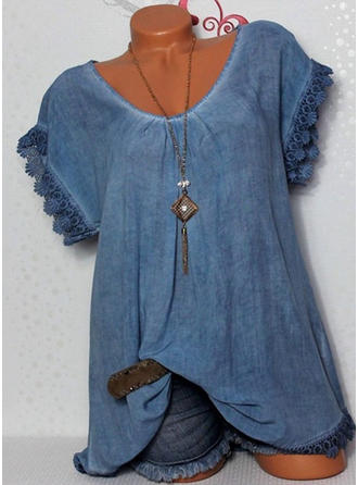 Cotton Blends V Neck Lace Short Sleeves Casual Blouses
