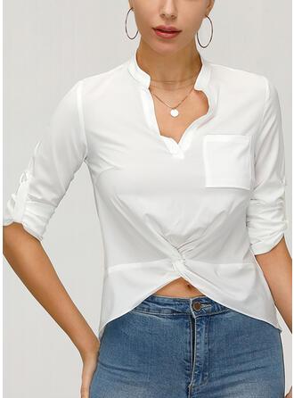 Jednolity Dekolt w kształcie litery V Długie rękawy Casual Elegancki Bluski koszulowe