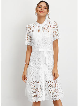 Lace/Solid Short Sleeves A-line Knee Length Casual/Elegant Dresses