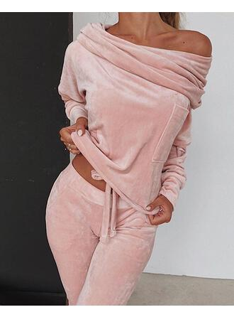 Off the Shoulder Long Sleeves Solid Color Classic Top & Pants Sets