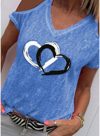 Print Cold Shoulder Short Sleeves Casual T-shirts