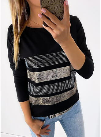 Sequins Round Neck Long Sleeves Casual T-shirts