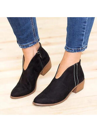Women's Suede Chunky Heel Ankle Boots Pointed Toe With Others shoes