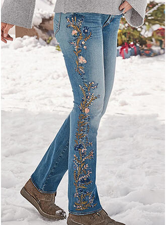 Embroidery Shirred Plus Size Long Elegant Sexy Denim & Jeans