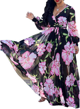 Print/Floral Long Sleeves/Lantern Sleeve A-line Party/Elegant/Vacation/Plus Size Maxi Dresses