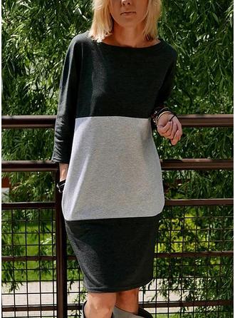 Striped Round Neck Knee Length Shift Dress