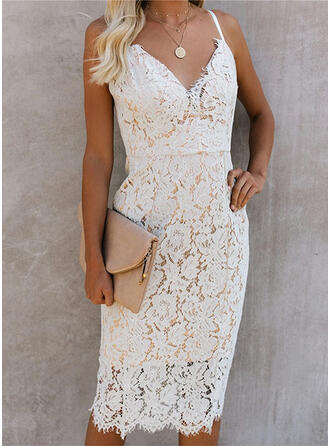 Lace/Solid Sleeveless Bodycon Sexy/Party Midi Dresses