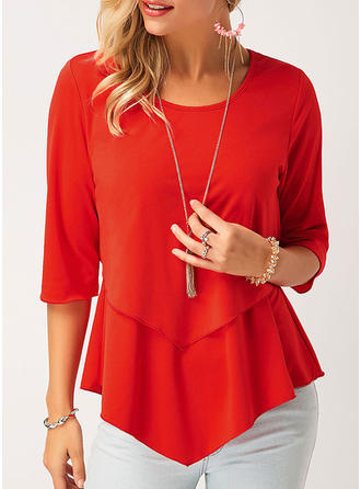 Polyester Round Neck Plain 1/2 Sleeves Casual Blouses