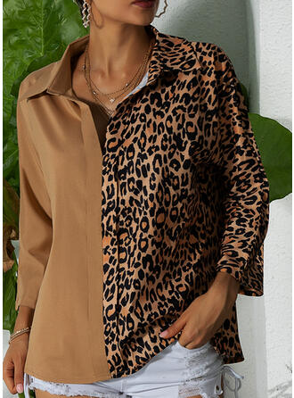 Leopard Lapel Lange ærmer Button-up Casual Skjortebluser