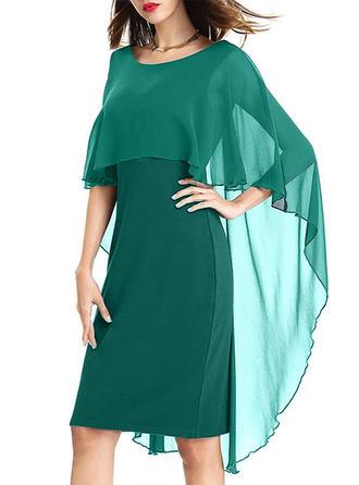 Solid Round Neck Knee Length Sheath Dress