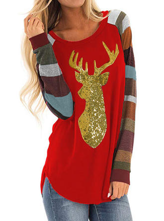 Animal Print Round Neck Long Sleeves Casual Christmas Knit Blouses