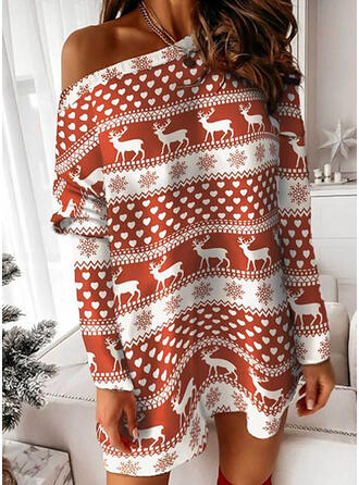 Christmas Print/Heart/Animal Long Sleeves Dropped Shoulder Shift Above Knee Casual/Party Tunic Dresses