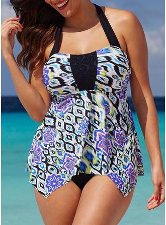 Colorful Halter Tankini Swimsuit