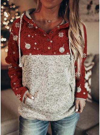 Print Color Block Pockets Long Sleeves Christmas Sweatshirt (1001334690)
