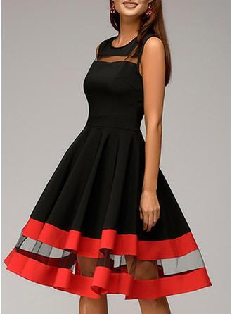 Striped Sleeveless A-line Knee Length Vintage/Casual Dresses