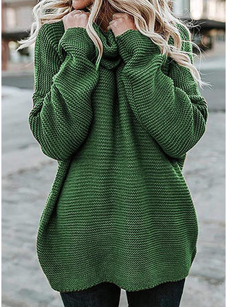 Jednolity Wafel Masywna dzianina Golf Swetry