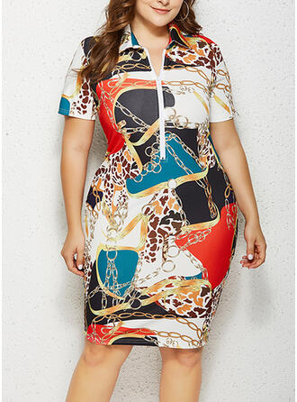 Print Short Sleeves Bodycon Knee Length Plus Size Dresses