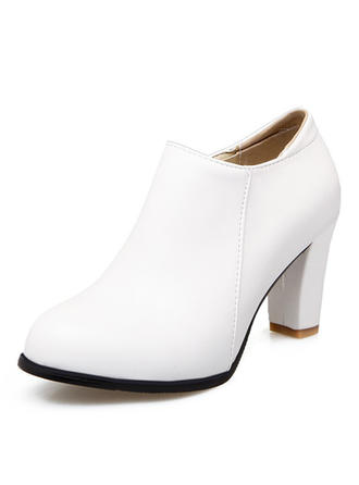 Women's Leatherette Chunky Heel Boots Closed Toe With Zipper