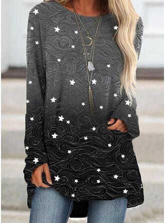 Print Gradient rund hals Lange ærmer Sweatshirts (1001335503)
