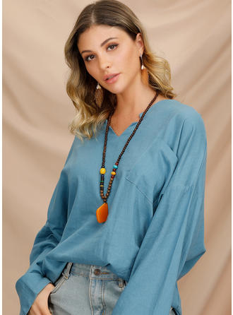 Solid V Neck Long Sleeves Casual Elegant Blouses