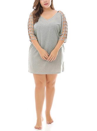 Solid 3/4 Sleeves Shift Above Knee Plus Size Dresses