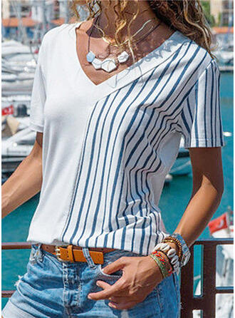Striped V-Neck Short Sleeves Casual Blouses