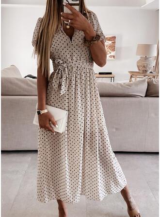 Groszki Krótkie rękawy/Bufiaste rękawy W kształcie litery A Łyżwiaż Casual Midi Sukienki