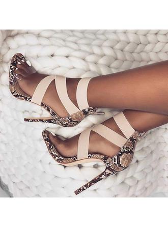 Women's PU Spool Heel Sandals Pumps Peep Toe With Zipper shoes