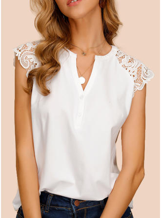 Solid Lace V-Neck Cap Sleeve Button Up Casual Elegant Blouses