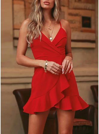 Solid Sleeveless A-line Above Knee Party Dresses