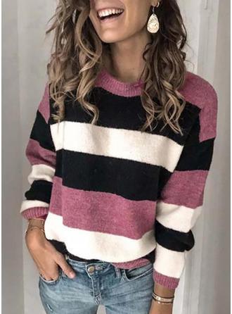 Color Block Round Neck Sweaters