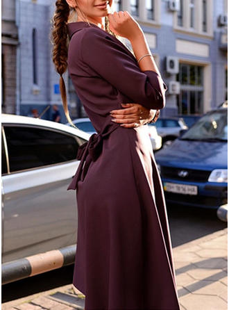 Couleur Unie Manches 3/4 Trapèze Longueur Genou Vintage/Élégante Robes