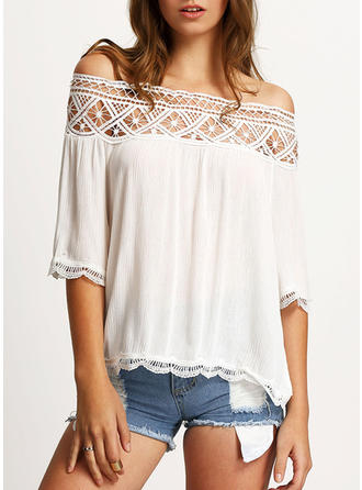 Chiffon Off the Shoulder Plain 3/4 Sleeves Ruffle Blouses