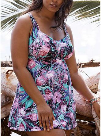 Tropischer Druck Träger Sexy Übergröße Badekleider Badeanzüge