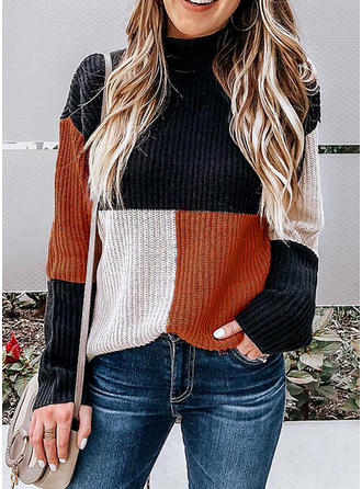 Polyester Round Neck Color Block chunky knit Sweater