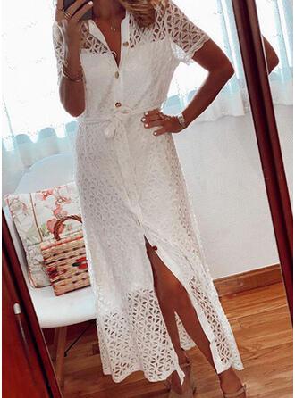 Lace/Solid Short Sleeves Sheath Little Black/Casual/Elegant Midi Dresses