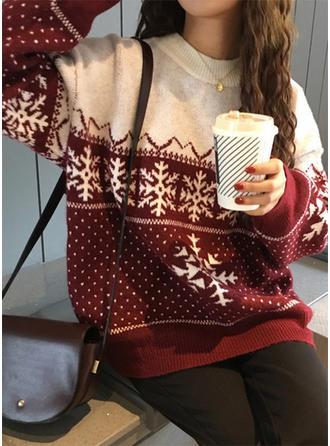 Acrylique Col rond Inmprimé Gros tricot Chandail de Noël moche