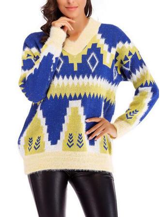 Acrylique V-neck Inmprimé Couleurs Opposées Gros tricot Chandail de Noël moche
