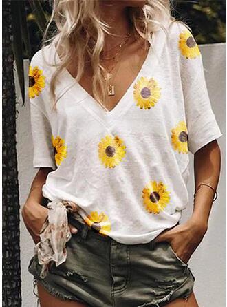 Print Sunflower Print V-Neck Short Sleeves Casual T-shirts