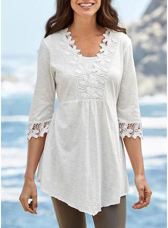 Cotton V Neck Plain 1/2 Sleeves Shirt Blouses