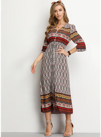 Print 3/4 Sleeves A-line Midi Casual/Boho/Vacation Dresses
