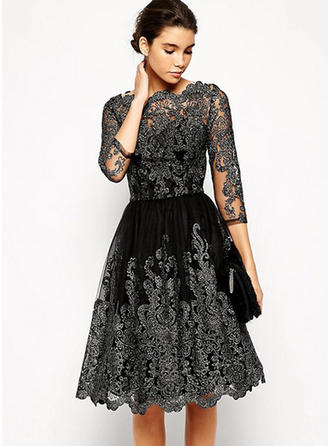 Polyester With Embroidery Knee Length Dress